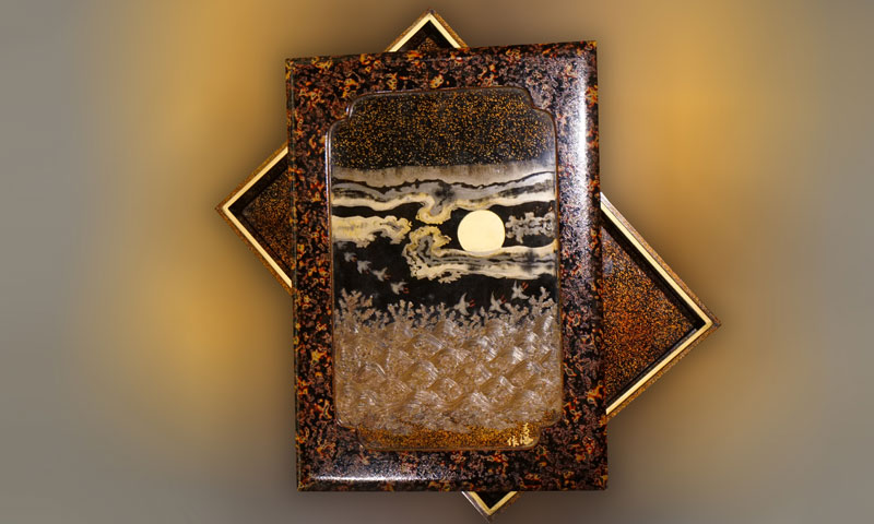 滿月飛鳥蒔繪漆器盒