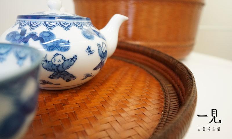 日本名家壽峰作‧青花染付松下童子戲蝶玉露椀茶道具組 _ 難得一見 ‧ 茶道具 染付
